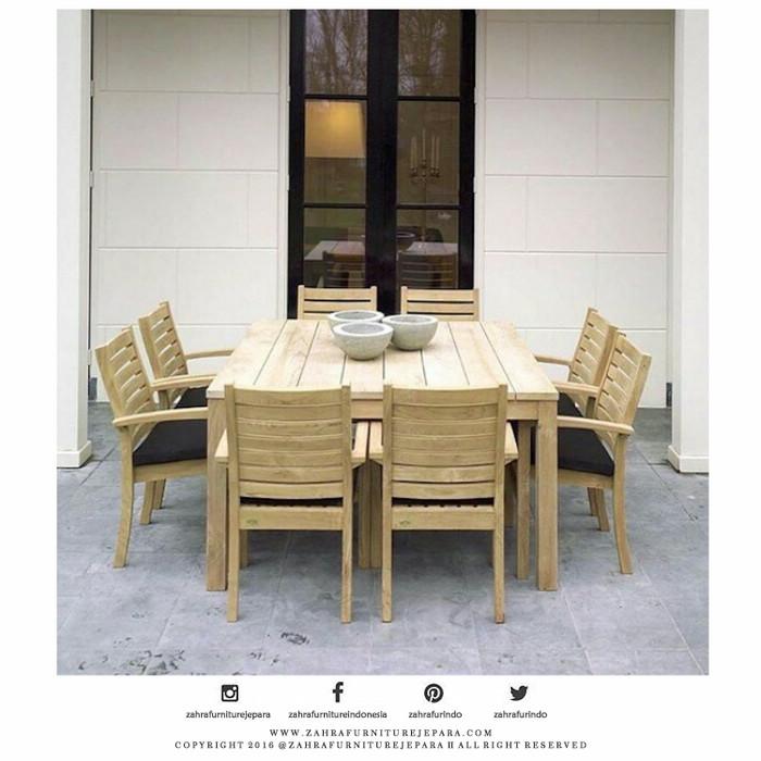 Bar Height Glass Table, Jual Dinning Set Garden Teak Outdoor Set Meja Makan Taman Jati Kab Jepara Deco Furniture Jepara Tokopedia