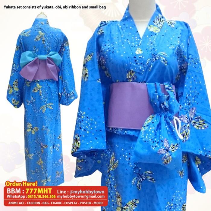 harga Yukata/kimono wanita : blue mozaic butterfly Tokopedia.com