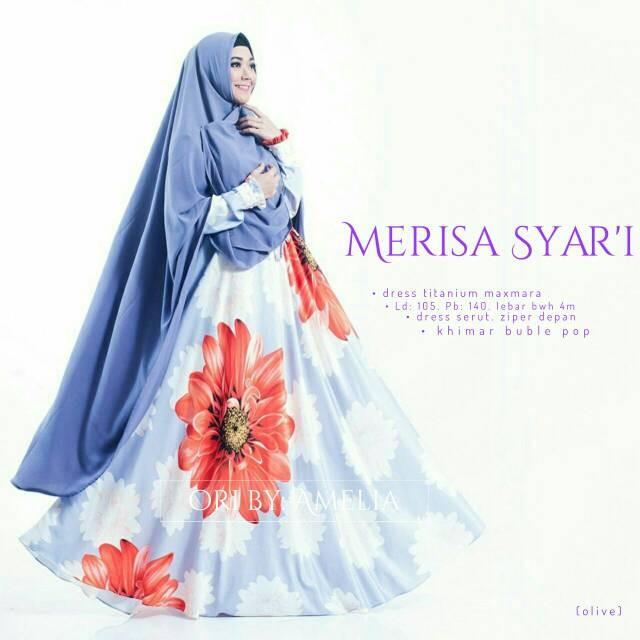 harga Gamis syari modern baju pesta muslim wanita bunga merisa Tokopedia.com