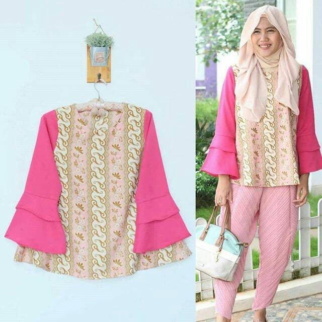 Toko Pedia Baju Batik: Jual Baju Blouse Atasan Batik Kombinasi Polos