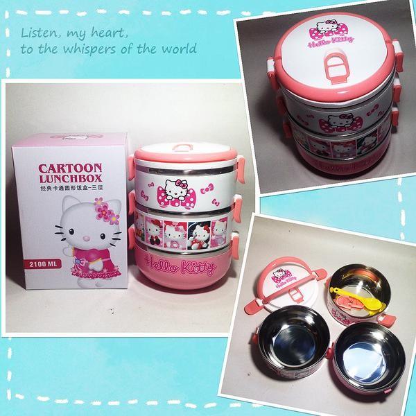 harga Rantang / lunch box 3 susun hello kitty / doraemon/ frozen Tokopedia.com