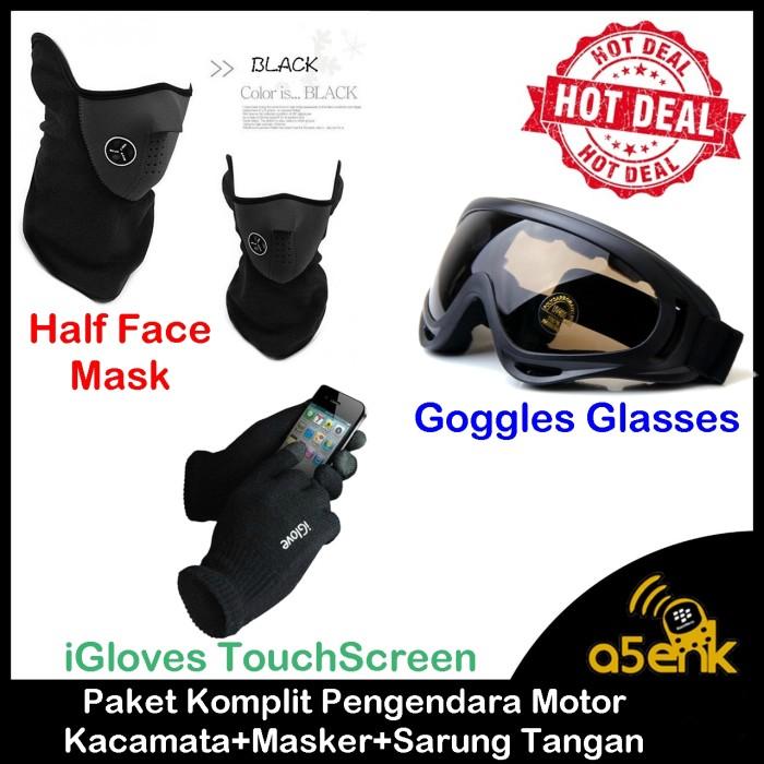 Paket Komplit Pengendara Motor !!! Kacamata + Masker + Sarung Tangan