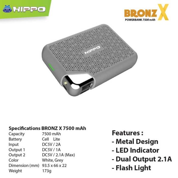 Powerbank Hippo Bronz X 7500 mAh - Putih