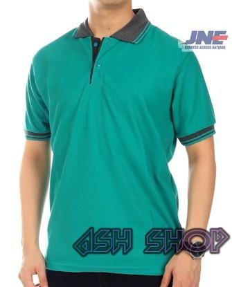 Kaos Polo Shirt Kerah Pria Abu Hijau Tosca Gelap