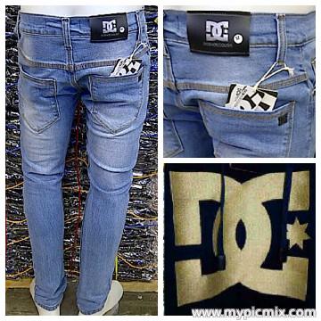 Celana jeans pria slim fit dc biru muda keren / bioblitz