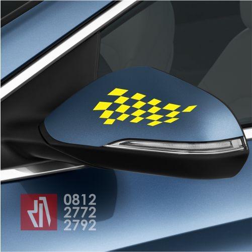 Mangele cutting sticker mobil flag racing 15 cm stiker variasi