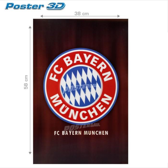 Jual Poster 3d Logo Bayern Munchen Fc 3d125 Size 38 X 58 Cm