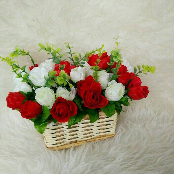 Bunga Mawar Hias Hiasan Meja Plastik