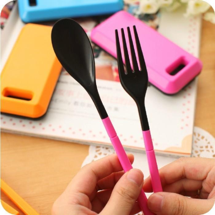 Perlengkapan Makan Sendok Garpu Sumpit | Travel Cutlery Portable Set .