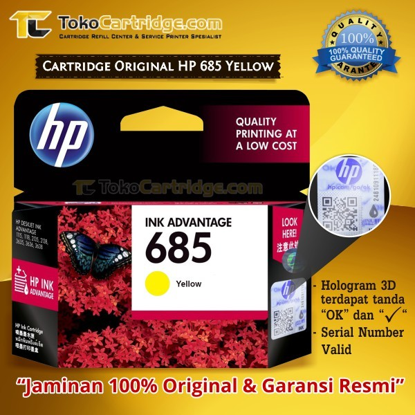 harga Cartridge hp 685 yellow ink advantage original catridge cz124aa Tokopedia.com