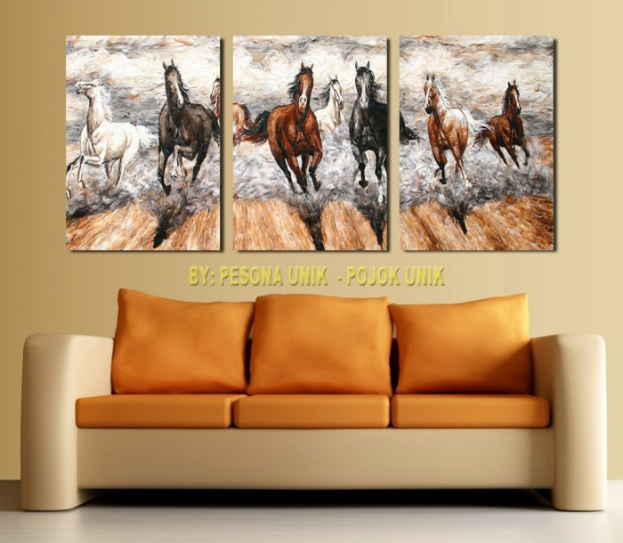 harga Poster lukisan kuda feng shui hoki unik 3 bagian Tokopedia.com