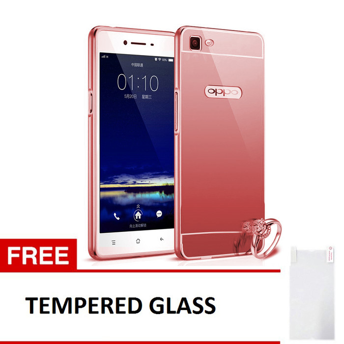 Case For Oppo R5 Bumper Slide Mirror - Rose Gold + Free Tempered Glass