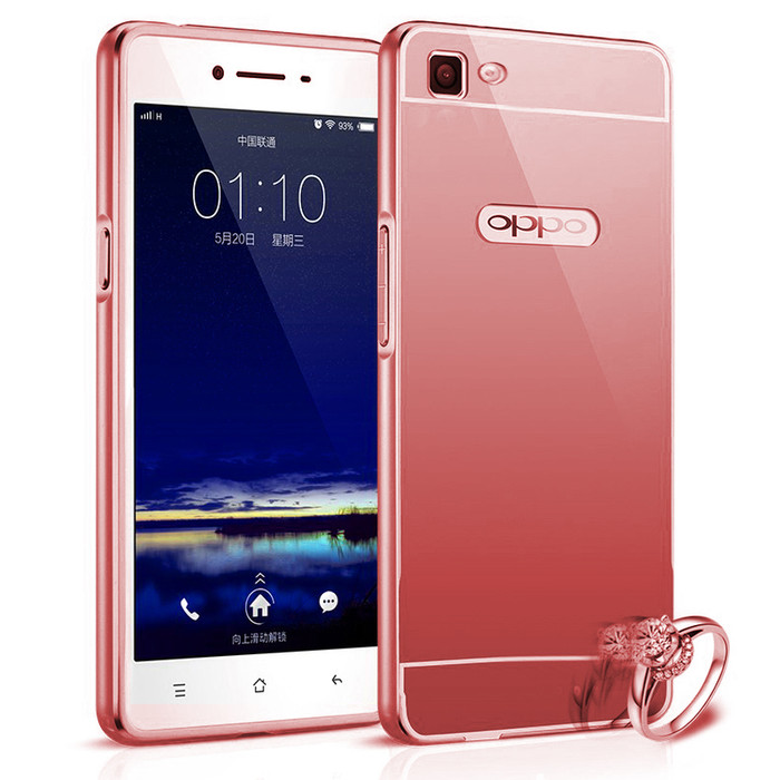Case For Oppo R5 Bumper Slide Mirror - Rose Gold + Free Tempered Glass