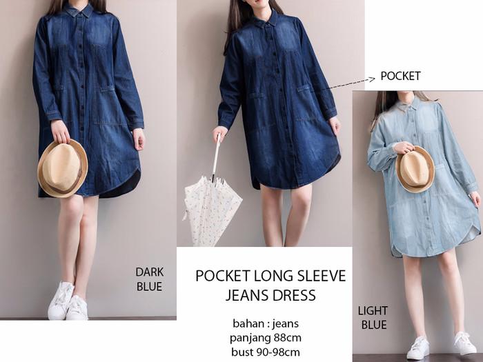 maxi jeans gamis kaftan wanita jumbo long dress Nurmila biru. Source ·