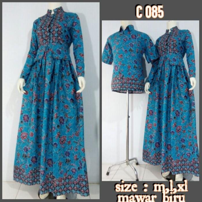 Jual Baju Batik Couple Model Gamis Sarimbit Mawar Biru