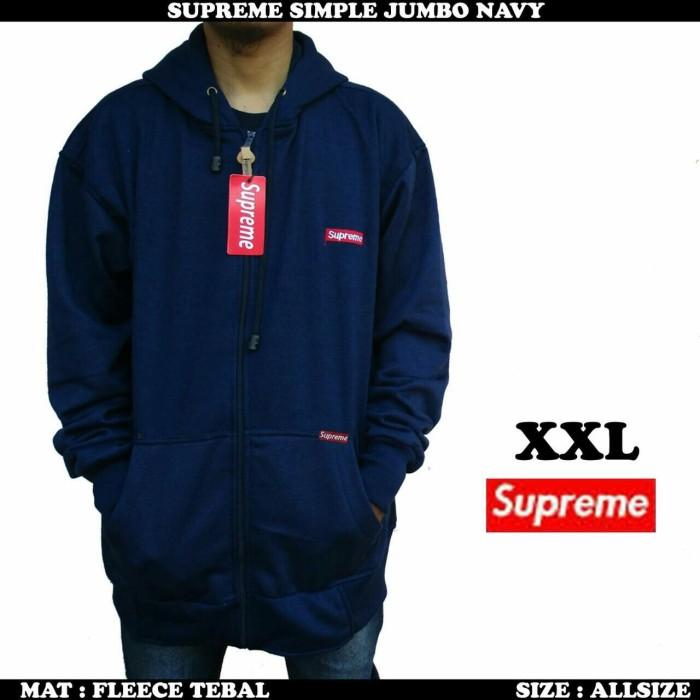 Jual Jaket Supreme Pria Navy Jumbo   Sweater fleece pria Murah ... 41660dc76e