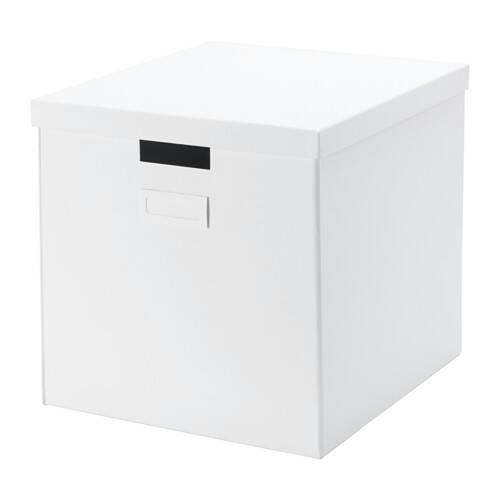 Ikea tjena kotak dengan penutup 32x35x32 cm - putih