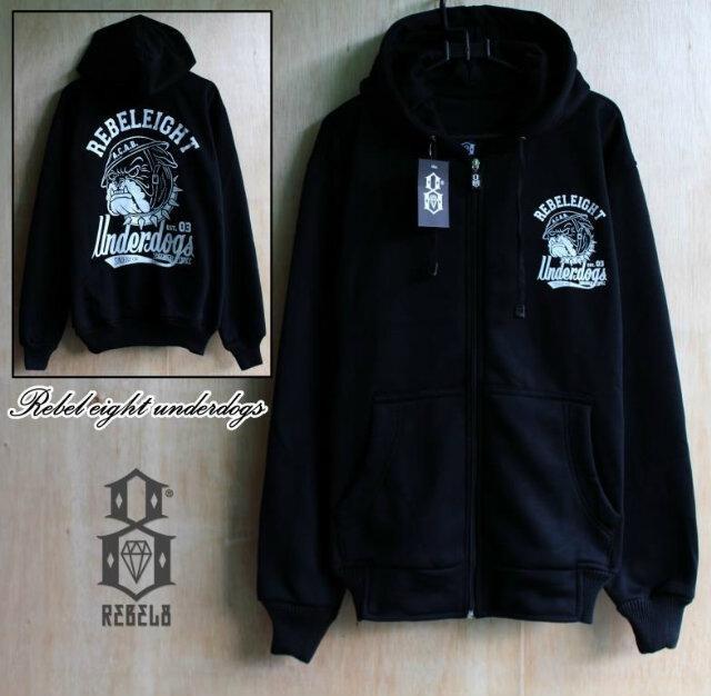 harga (new)   jaket distro rebel eight underdog black   jaket zipper fleece Tokopedia.com