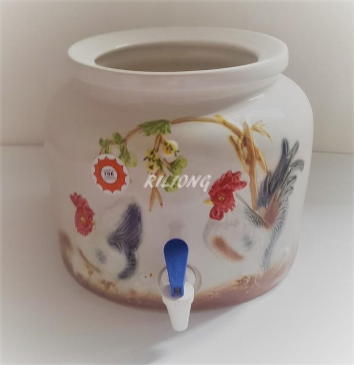 harga Trisensa guci galon keramik emboss ayam Tokopedia.com