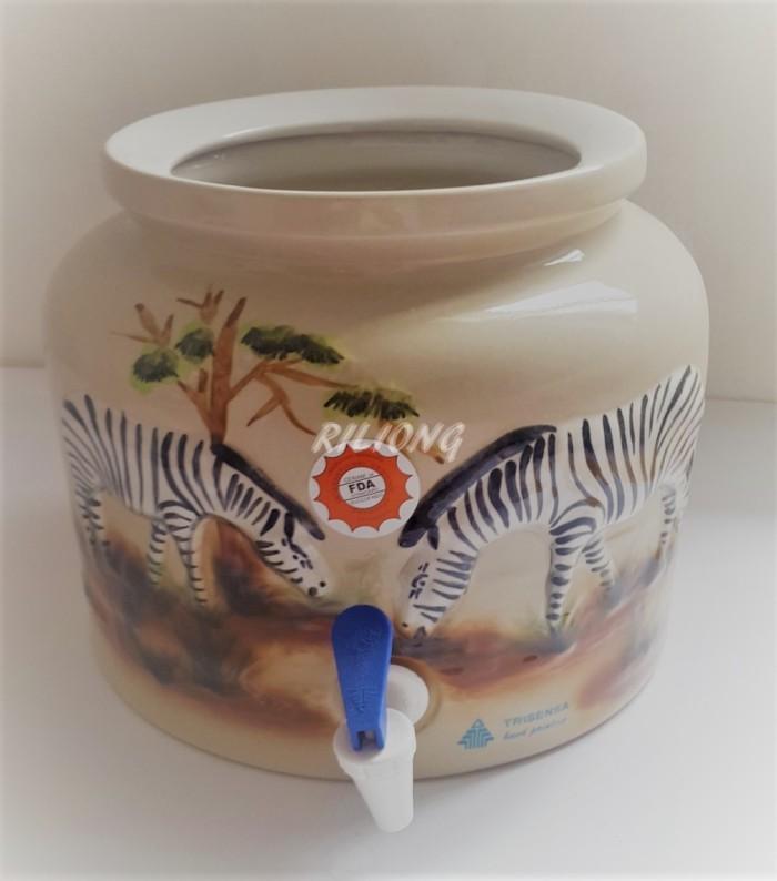 harga Trisensa guci galon keramik emboss zebra Tokopedia.com