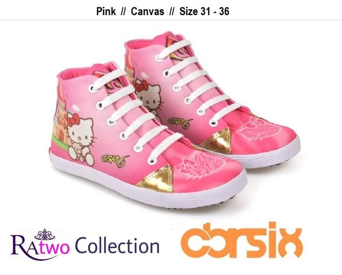 harga Sepatu kets anak perempuan pink sneakers canvas tali cewek hello kitty Tokopedia.com