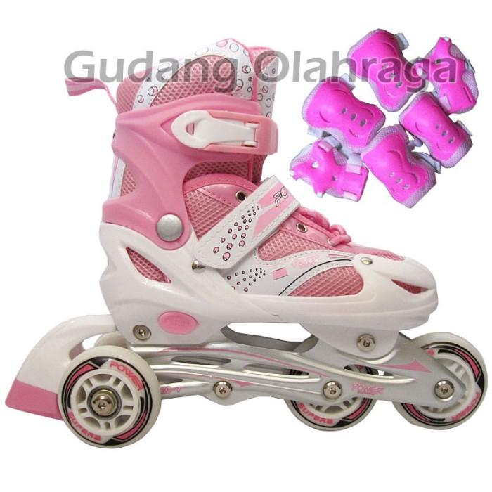 Sepatu roda bajaj pink + deker   pelindung inline skate satu set harga ... 3248680c19