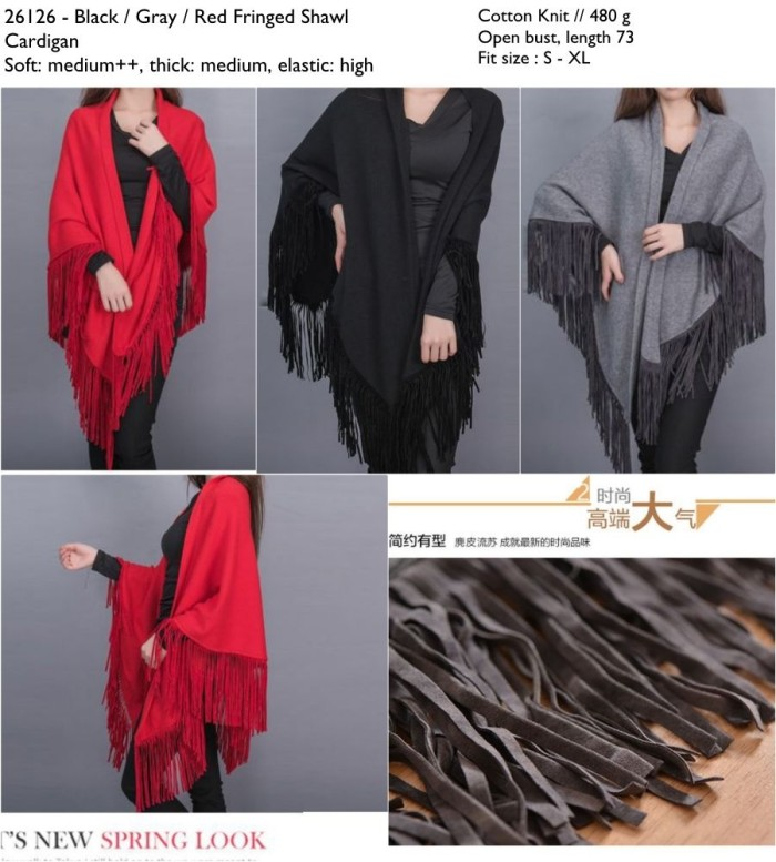 26126 Fringed Shawl Cardigan / Cardigan Hitam Merah Abu-Abu