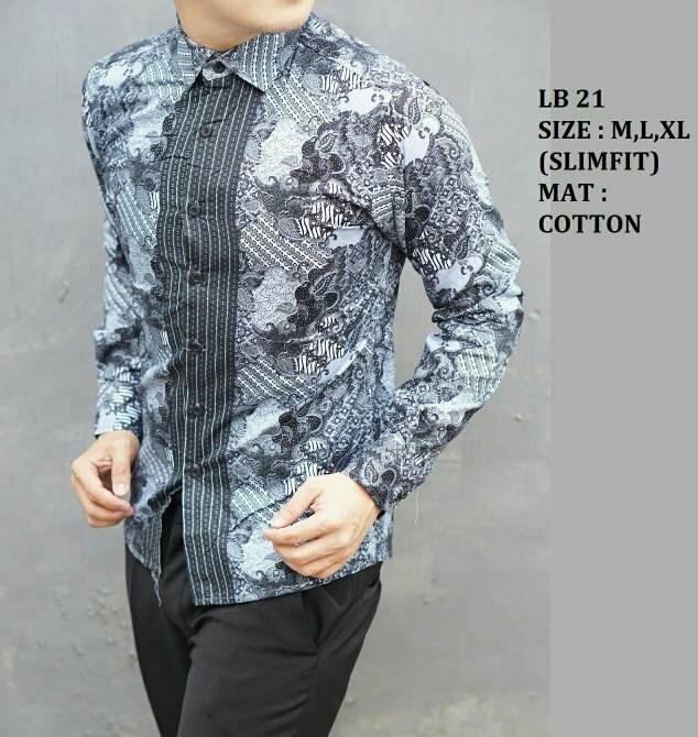 Jual Baju Kemeja Pria Batik Modern Slim Fit Lengan Panjang Lb 21 9ed374d376