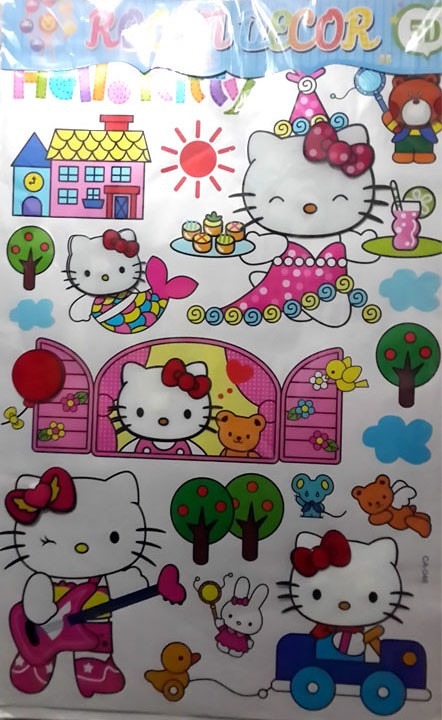 jual 5d wall sticker hello kitty - stiker dinding kamar (ca-048