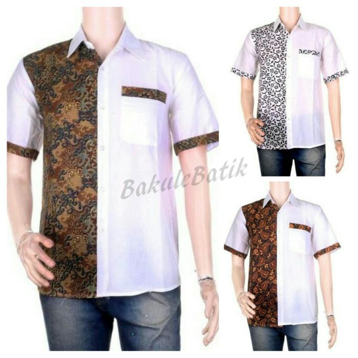 Kemeja gaul kombinasi batik cap kain halus modern (bj0312)