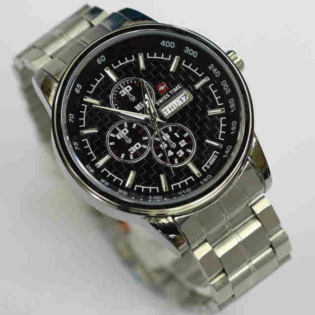 PROMO jam tangan pria/cowok swiss time model army free box murah .