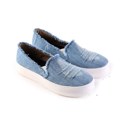 harga Slip on wanita hitam jeans / sepatu cewek casual murah asli garsel Tokopedia.com