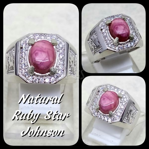 harga Cincin batu akik permata natural ruby star johnshon ring alpaka super Tokopedia.com
