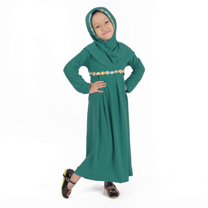 Jual Baju Muslim Gamis Anak Perempuan Hijau Toska Lucu