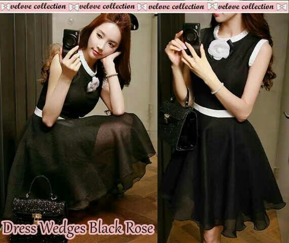 harga Dress wedges black rose [dress 0109] Tokopedia.com