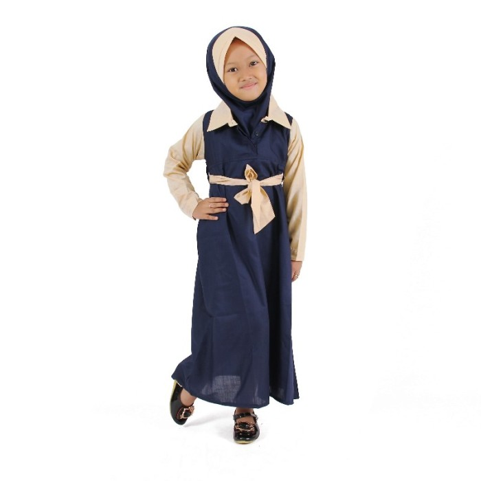 Jual Baju Muslim Gamis Anak Perempuan Semi Formal Biru