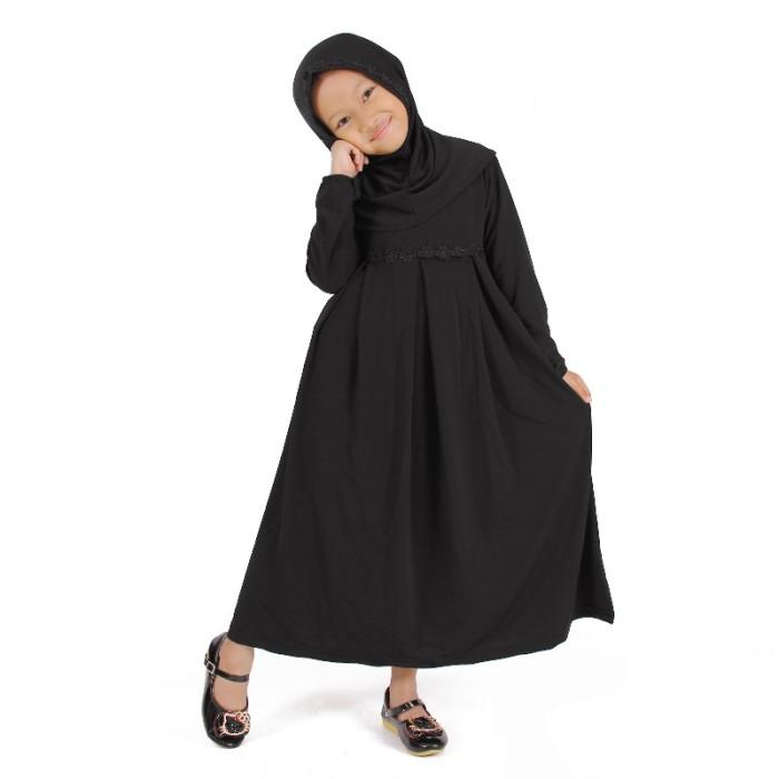 Foto Produk Baju Muslim Gamis Anak Perempuan Hitam Lucu Simple Murah dari Grone