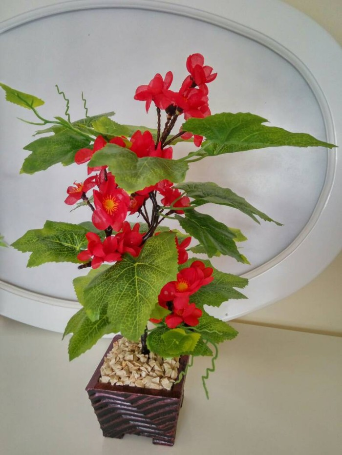 Jual Bunga Hias Merah Bunga Plastik Hiasan Meja 3cb7813514