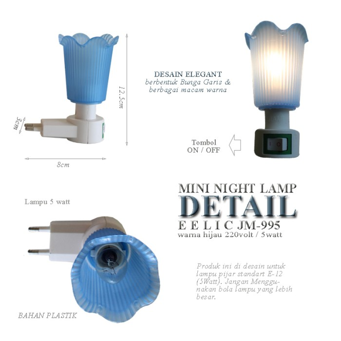 ... Silau Di Mata dan Hemat Energi. Source · EELIC JM-995 Mini Warna Biru Model Bunga Lampu cantik Malam Hari