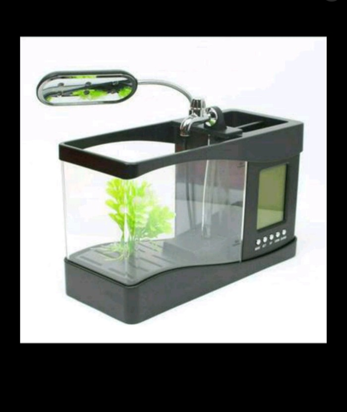 harga Aquarium mini usb fish tank ls0404 + jam digital aquarium kecil meja Tokopedia.com