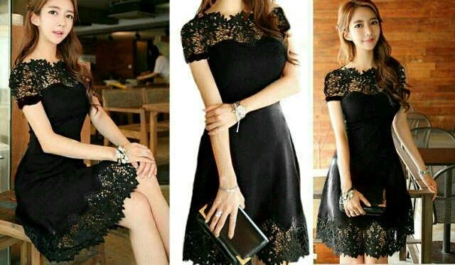 harga Dress pendek brukat/ mini dress black brokat chic fere women Tokopedia.com