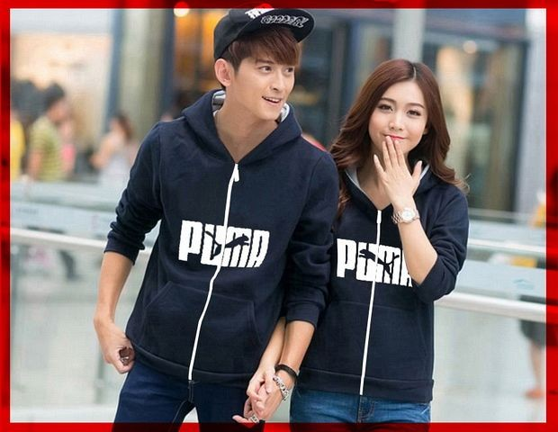 Jaket Couple / Baju Pasangan Couple Jaket Puma Logo Navy 01