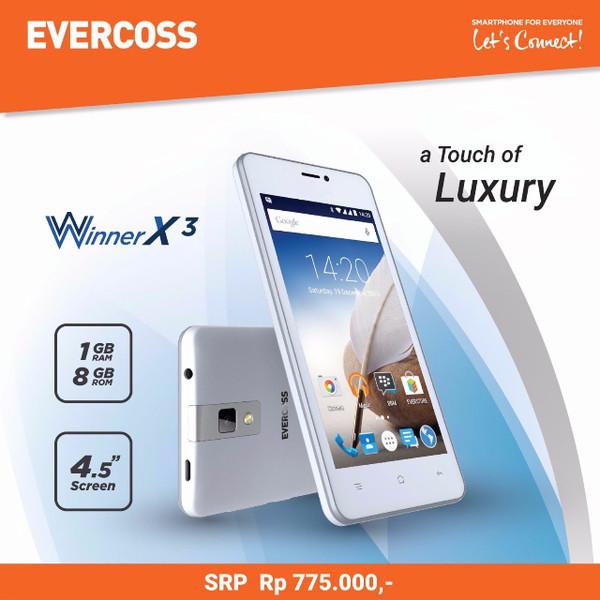harga Evercoss a65b winner x3 -quad core 1.3 ghz 4.5  fwvga lcd 1gb ram Tokopedia.com