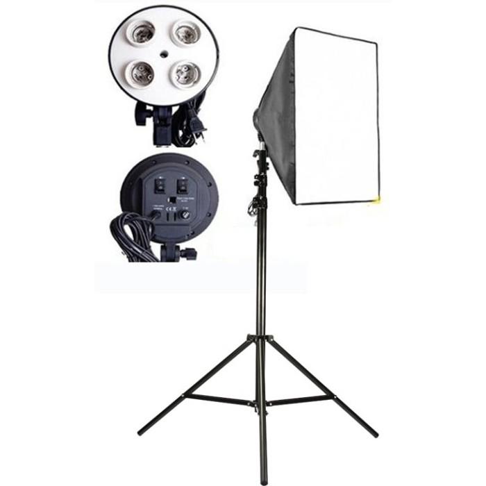 Light Stand Takara Spirit 3: Jual PAKET SOFTBOX E27 4 Socket Lamp Holder + Tiang