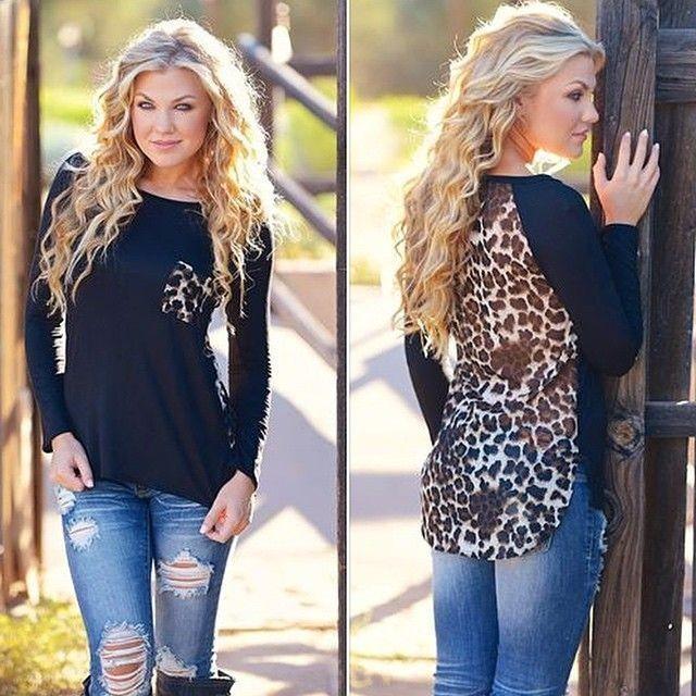 harga Atasan kaos lengan panjang motif leopard mix hitam import murah Tokopedia.com