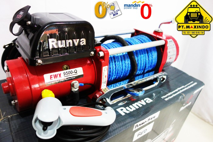 harga Runva winch ewx-9500-q  red  dgn synthetic rope (43 ton) high speed Tokopedia.com