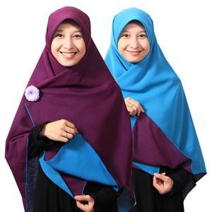Jilbab syari segi empat bolak balik branded ungu tua biru turkis