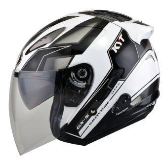harga Helm kyt galaxy slide putih hitam half face double visor Tokopedia.com