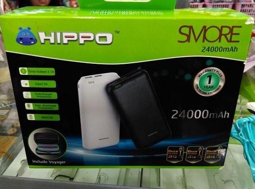 Powerbank Hippo Smore 24000 mah + Tas Original Real Capacity