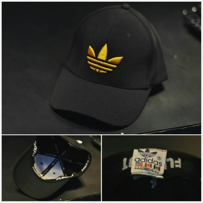 d34056bcb41 Jual topi hats adidas cap fitted big gold logo full black - snick  o ...